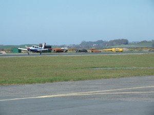 Taxying in at Caernarfon